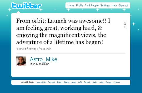 The First Tweet From Space